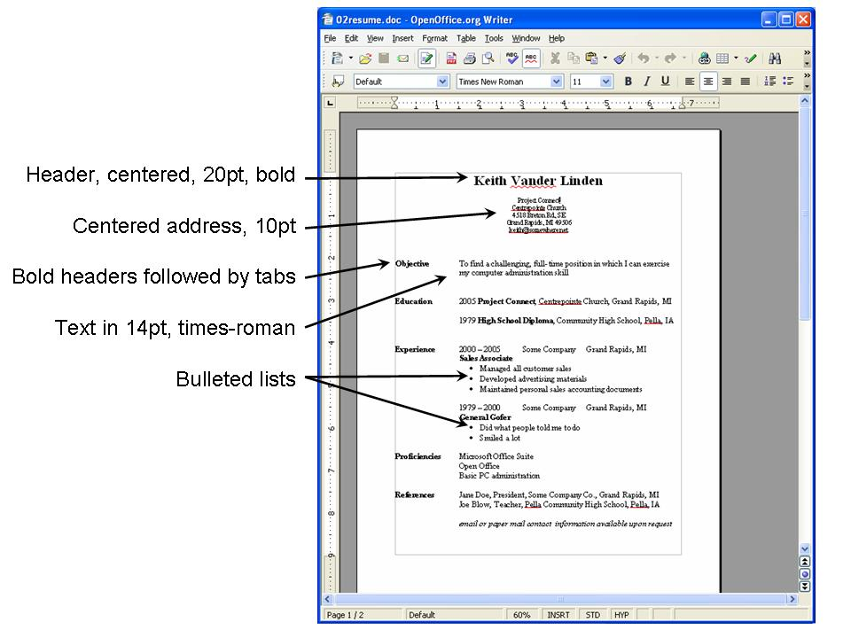 resume format correct spacing chron com. project connect basic pc  applications session 2