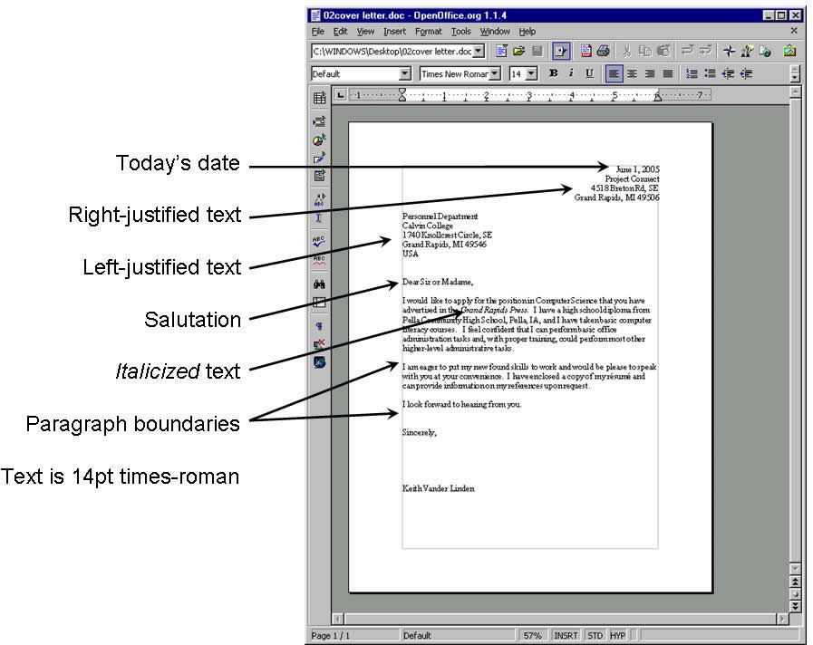 Project connect basic pc applications session 2 your document should look like the following example cover letter in open office altavistaventures Image collections