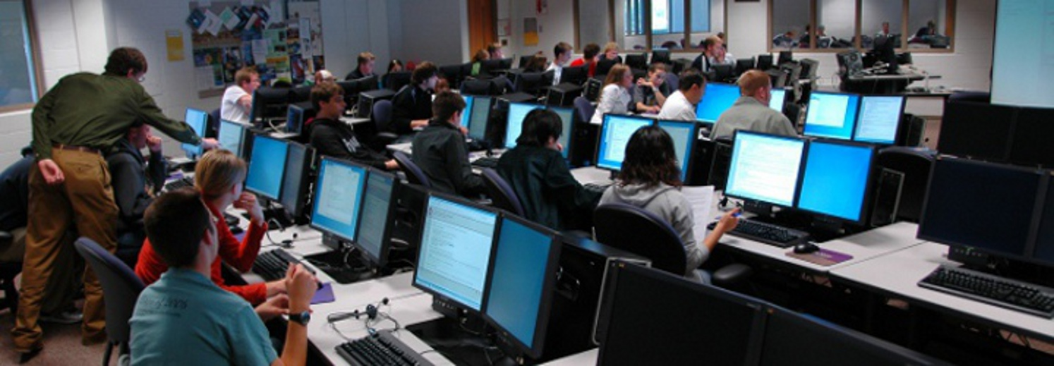 CS and IS students get hands-on experience in Calvin's main computing lab.